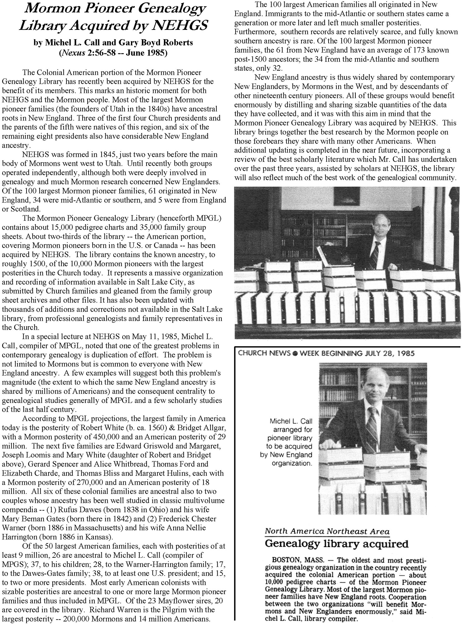 MPGL NEHGS and Newspaper Article